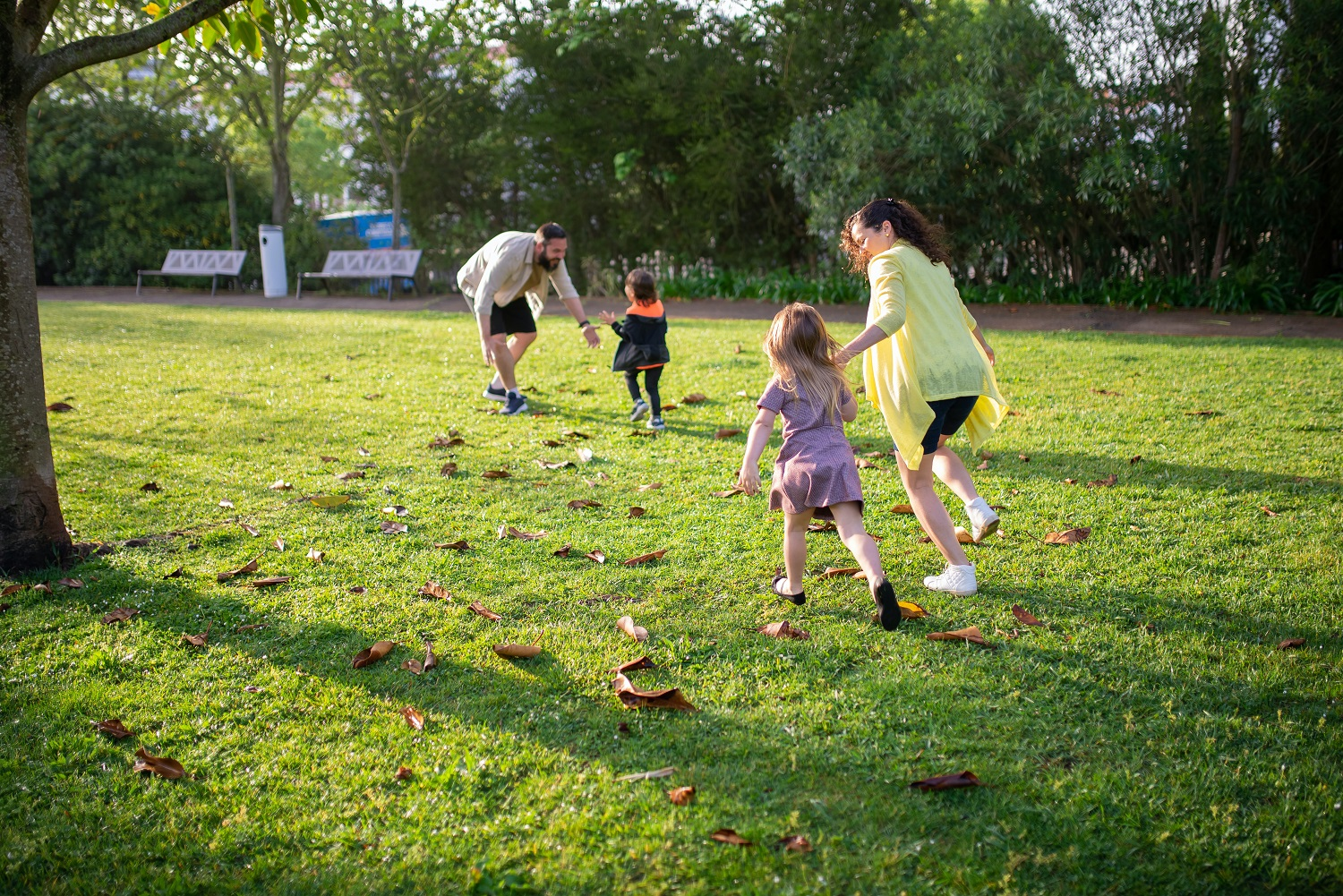 foster children and carers playing outside